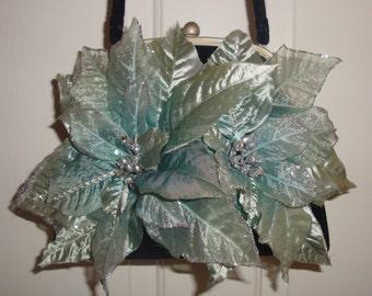 Novelty Flower Handbag, Sea Glass Blue Green, POINSETTAS, Rhinestones Glitter, Black Velvet Framed Purse OOAK Custom Holiday Novelty Holiday