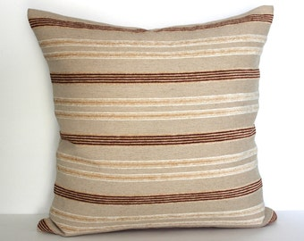 16x16 Beige Pillow Cover Stripe Chenille Upholstery Fabric Throw Pillow Cover Decorative Pillow Cushion Cover