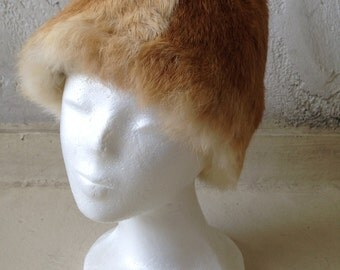 vintage rabbit fur hat 60'-70' super cute hippie boho