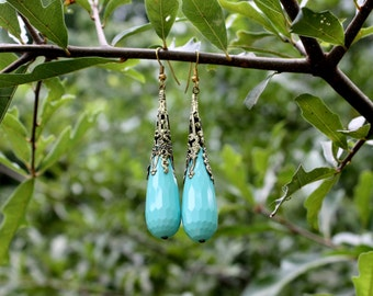 Turquoise and Gold Earrings - Victorian Style Earrings - Turquoise Aqua Glass Earrings - Brass Earrings - Extra Long Statement Earrings
