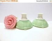ON SALE Vintage Candlesticks - Vitrock Oyster and Pearl Candlesticks - Rare Green and White - Jadeite Green
