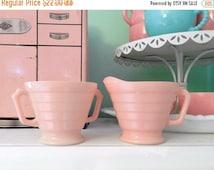 ON SALE Pink Hazel Atlas - Hazel Atlas Sugar and Creamer - Platonite - Pink Kitchen - Moderntone Pink
