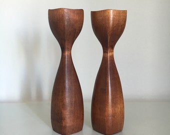 Midcentury Modern Turned Wood Candle Holders Pair