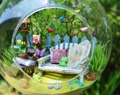 Custom Terrarium Kit for Aliya ~ Song Bird Garden Terrarium Kit with Bench ~ Butterfly ~ Frogs ~Table ~ Red Wine ~ Fence ~ Gift for Mom