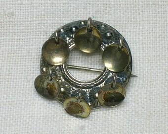 Antique Norwegian Solje Brooch #3. 830 Silver, Small Size, 1 inch Diameter