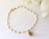 Pearl Bracelet Pearl Bracelet Pine Cone Bracelet Pearl Jewelry  Bridesmaid Gift Gold Bracelet Gifts for her best friend gift girlfriend gift