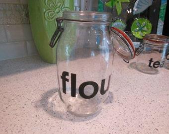 Vintage Typographic Flour Jar - Graphic Modern Flour Jar - Flour Storage Jar - Vintage Glass Jar Canisters - Kitchen Storage Flour Glass Jar