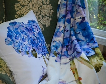 Throw Blanket, Blanket, Cape Cod Hydrangeas