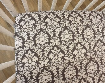 READY TO SHIP--Gray Damask Crib Sheet- Fitted Crib Sheet- Damask Crib Sheet