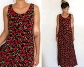Floral Maxi Sundress / Boho Rose Print Dress / Vintage Sleeveless Black Maxi Bohemian Back Tie Ankle Length Full Length Dress 12