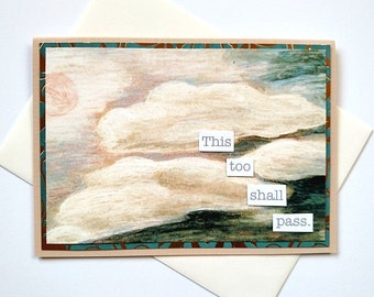 This Too Shall Pass - Clouds Greeting Card - Sympathy, Encouragement, Thinking of You