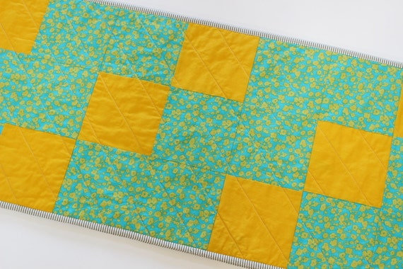 Modern Turquoise Quilted Table Runner