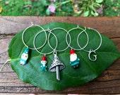 Garden gnome family wine glass charms - gardening gnomes hobbit - love to garden