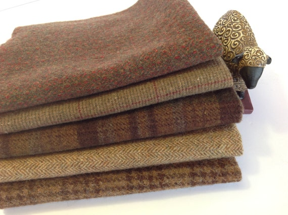 Medium Brown Textures, Wool Fabric for Rug Hooking and Applique, 5 pieces, Select a Size, W189