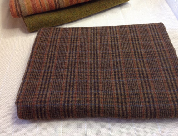 Brown Plaid Wool Fabric for Rug Hooking and Appliqué, One yard, Half Yard, Fat Quarter, W150