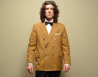 mens vintage sport jacket 50s plaid sport coat 6x2 6 by 2 double breast 1950 menswear mustard yellow Lowell House 40R 40