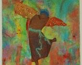 Dancing Angel Art Quilt - Mixed Media 17x20
