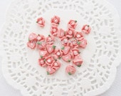 10pcs - Small Ceramic Tea Time Peachy Pink Coral Rose Decoden Cabochon (8mm) FL10021