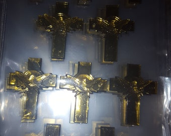 24 Gold acrylic  cross with dove  charms  for favors /capias