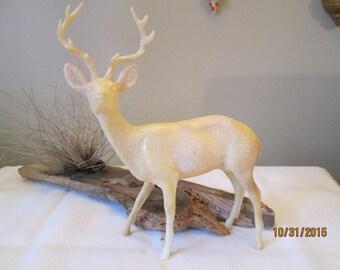 Vintage Large Hard Plastic Christmas Deer, Christmas Display, White  Raindeer