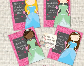 Princess Valentine cards for girls * Kids Valentines Day cards * DIY printable valentines *Fairy Tail Valentines, personalization extra