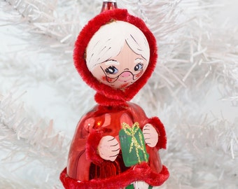 Vintage Mrs. Claus Christmas Ornament RARE Red Italy Figural Hand Painted Blown Glass Chenille New With Tags Hahne's Original Box