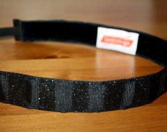 """Black 'Sparkle Stripe' Headband - Hankband - Non-Slip 7/8"""" Running/Workout Headband"""