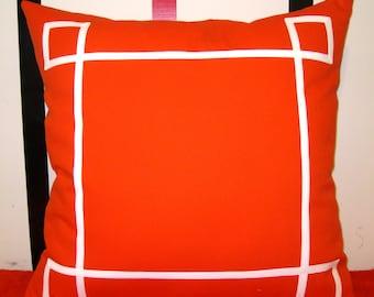 orange white trim nautical pillow cover 26 X 26