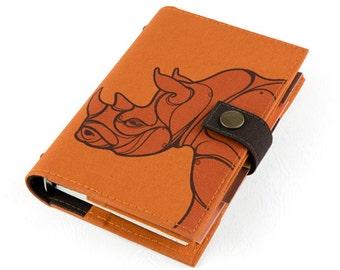 Rhinoceros, Personal Planner, Personal organizer, Planner, Organizer, student, calendar, weekly, agenda, monthly, daily, notebook, handmade