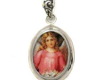Broken China Jewelry Victorian Christmas Pink Angel Sterling Oval Pendant