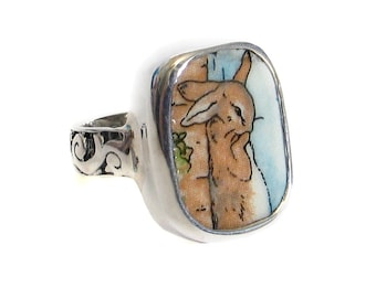 Size 7 Broken China Jewelry Beatrix Potter Peter Rabbit Wall Sterling Ring
