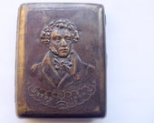 Vintage Soviet brass CIGARETTE CASE Poet A.S. PUSHKIN portrait Silver coating