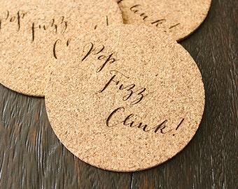 Pop Fizz Clink! Cork Coaster Set Bridal Shower Decor Cork Coasters Custom Coasters Rustic Bridal Shower Engagment Party Decor