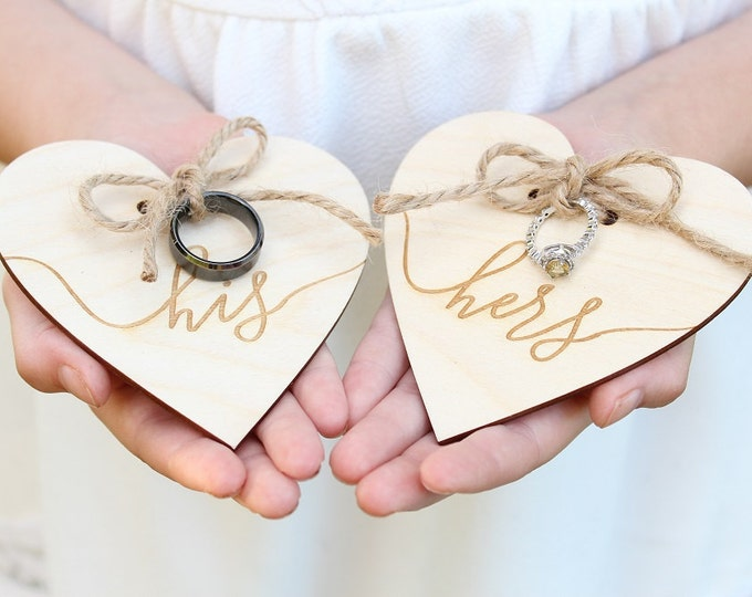Featured listing image: His and Hers Wedding Ring Holders Ring Bearer Ring Holder Engraved Wood Heart Ring Holder Rustic Wedding Ring Holder Heart Ring Holder