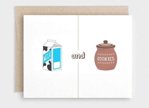 Funny Anniversary Card For Him - Milk & Cookies, We Were Meant for Each Other - Cute Valentine Card, I Love You Card, Recycled Card