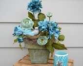 TEAL BIRD NEST Floral Arrangement Aqua Tin Pot Burlap Bird