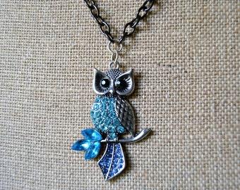 RHINESTONE OWL Pendant Necklace Black Chain Aqua and Blue Rhinestones