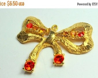 MOVING SALE Half Off Pretty Vintage Gold Tone Metal Bow Pendant with Orange and Yellow Rhinestones