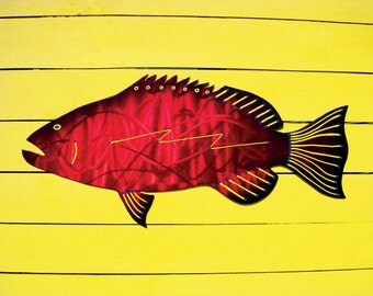 Grouper Art, Fish Art, Grouper Metal Art, Outdoor Metal Wall Art, Red Grouper Metal Art