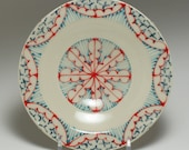 Small Wheel Thrown Handmade Ceramic Dessert Plate with Red, Turquoise and Navy Pattern