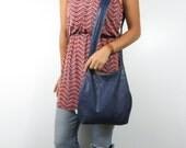 navy leather purse hobo bag. design your own cross body bag or shoulder purse large or medium.