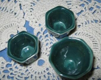 Miniature Doll House Green Ceramic Planter Set Of 3