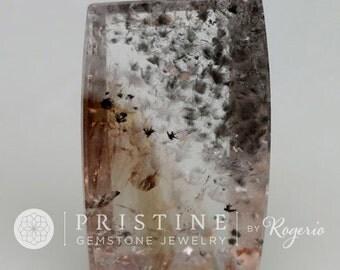 Unique Gemstone Collector Piece Quart Over 45  Carats Quartz  Rutile Needles Cushion Shape