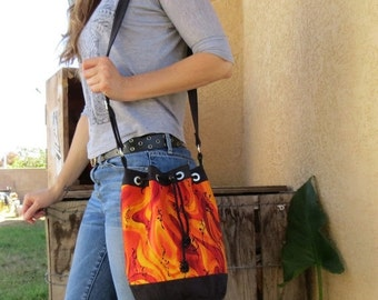 ON SALE Red & Orange Bucket Bag with Black Accents