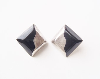 Taxco Earrings Sterling Silver & Black Onyx or Resin Modernist Squares Wavy Kandinsky-esque Design Signed GHM TC-14 Mexico 925 Post Backs