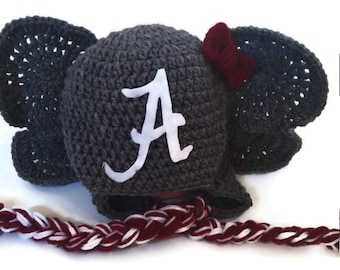 Alabama Al Hat, Crimson Tide, University of Alabama, Crochet Alabama Hat, Crochet Elephant Hat, Roll Tide, Roll Tide Hat, Alabama Football
