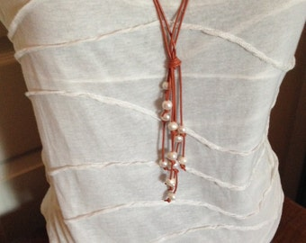 Freshwater Pearl and Tan Leather Lariat 2 strand Necklace