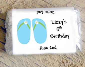 Blue Flip Flops Candy Wrappers for Girls Birthday Party Candy Bar Wrappers CIJ
