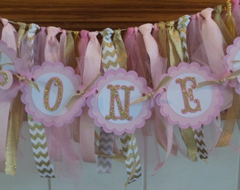 Butterfly High Chair Banner, ONE high chair banner, pink gold high chair banner, I am 1 pink gold butterfly banner, pink gold garland