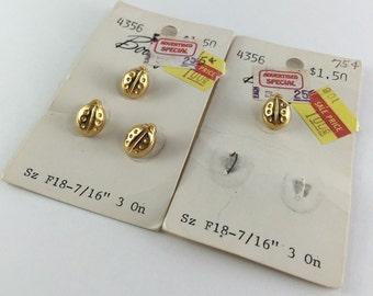 4 Vintage Gold Ladybug Buttons